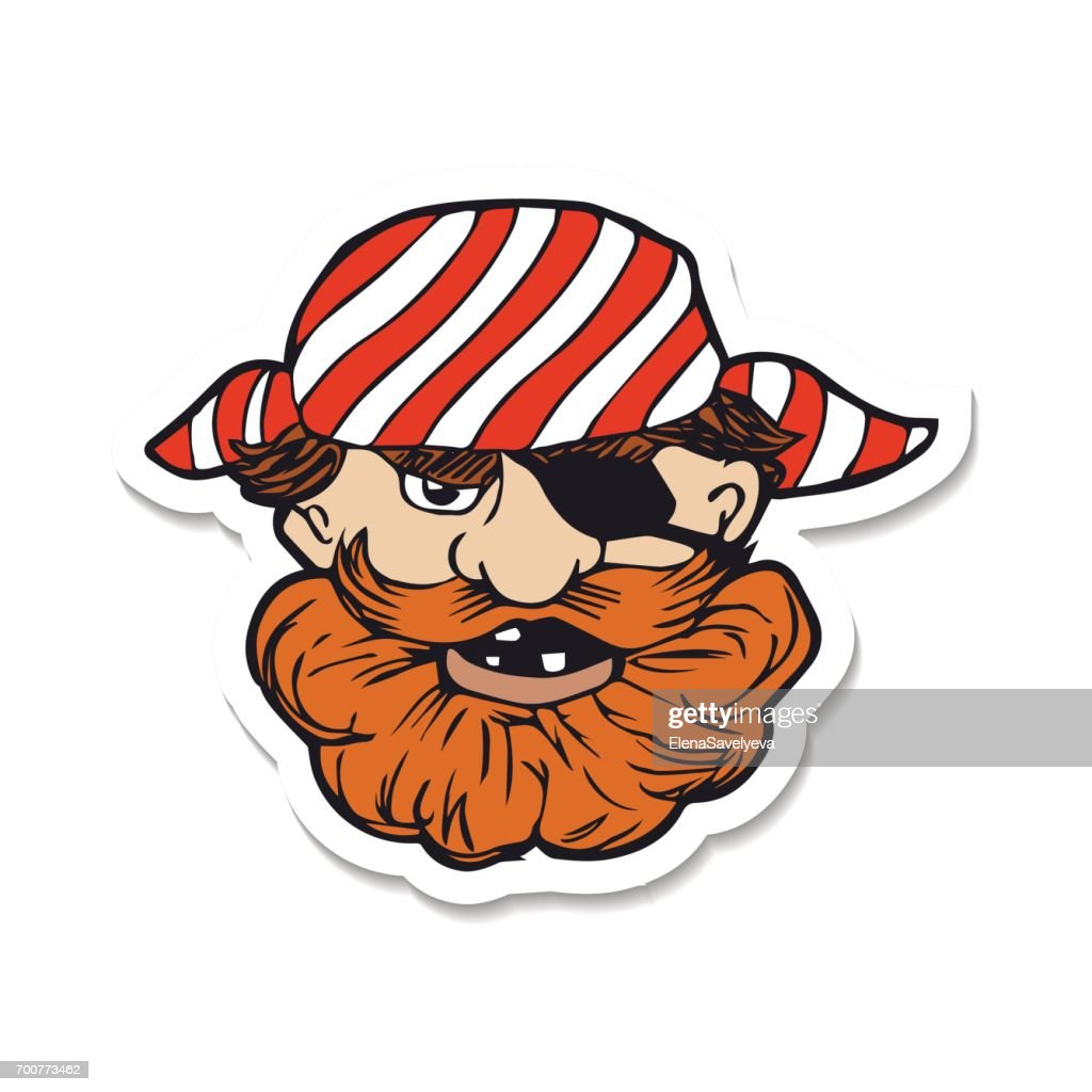 Courageous sea pirate with beard and eye patch