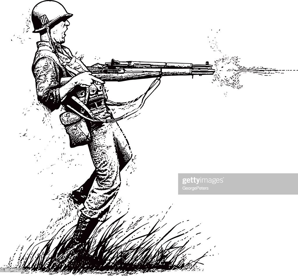Courageous U.S. Soldier Shooting 2 Rifles in Combat : stock illustration