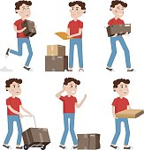 Courier characters,delivery man holding boxes in different poses.Shipping