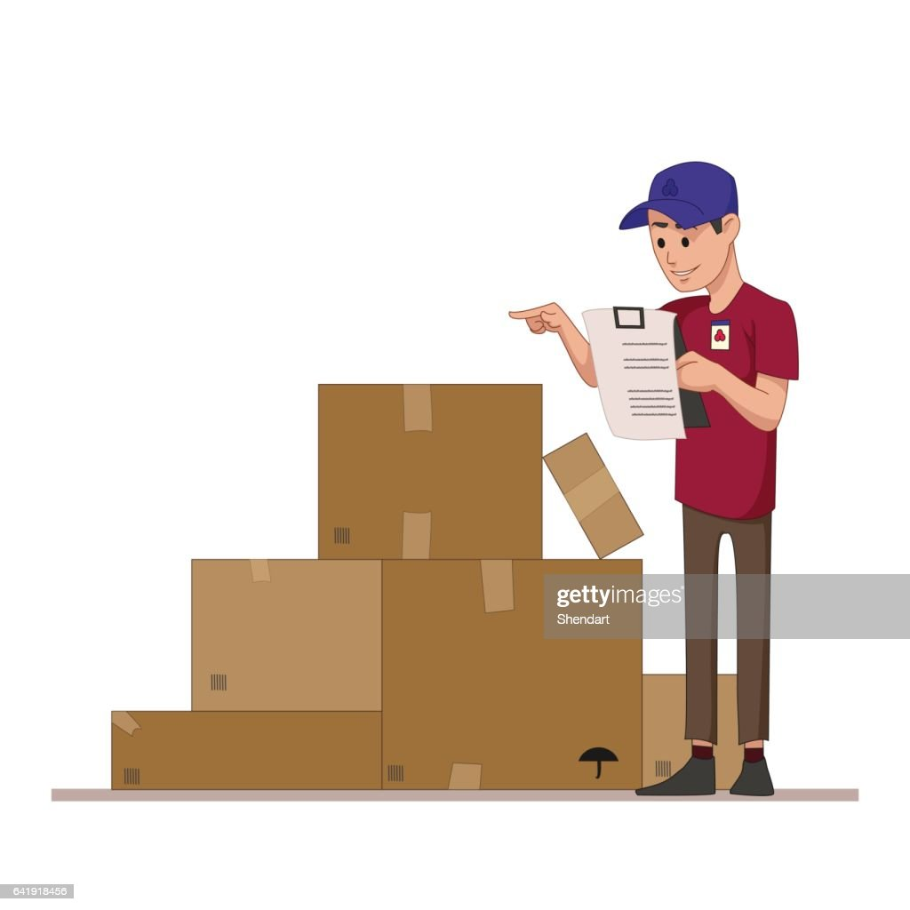 Courier checks parcels list. Boxes for sending mail. Warehouse worker or a postman. Flat character isolated on white background. Vector, illustration EPS10.