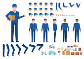 Courier, delivery man creation kit. Create your own pose, action, animation. Various emotions, gestures, design elements