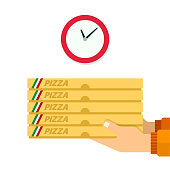 Courier delivery pizza vector flat isolated
