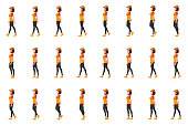 Courier Girl walk cycle animation sprites