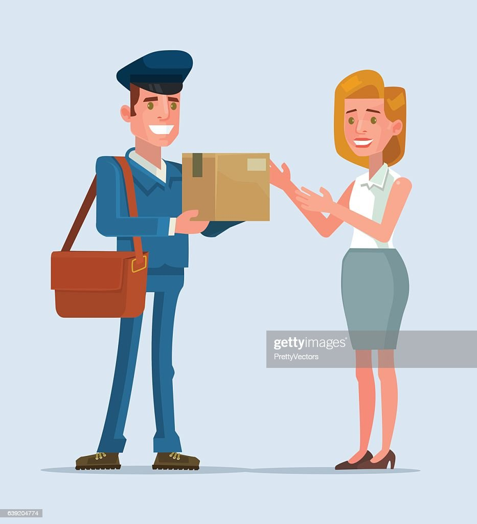 Courier man character brought parcel consumer. Vector flat cartoon illustration
