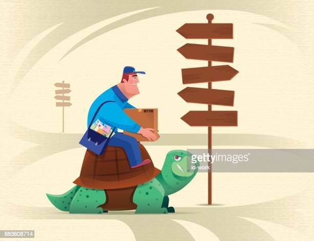 courier sitting on tortoise and checking signpost - messenger bag stock illustrations, clip art, cartoons, & icons