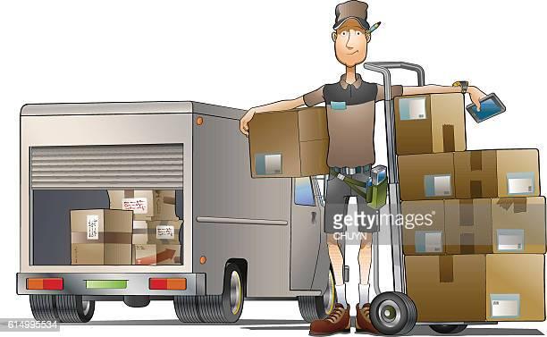 illustrations, cliparts, dessins animés et icônes de courier - chauffeur routier