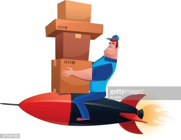 courier with cartons sitting on rocket - messenger bag stock illustrations, clip art, cartoons, & icons