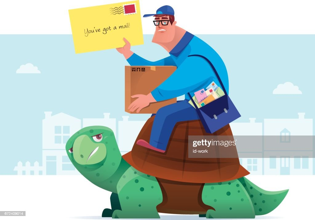 courier with envelope sitting on tortoise : stock illustration