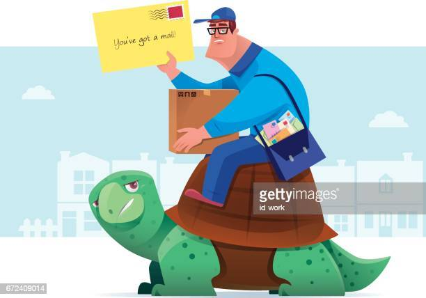 courier with envelope sitting on tortoise
