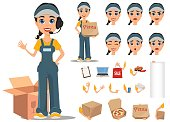Courier woman character creation set. Professional fast delivery. Full height, various emotions, gestures.