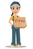 Courier woman holding box with tasty hot pizza. Professional fast delivery.