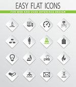 Courses school icons set