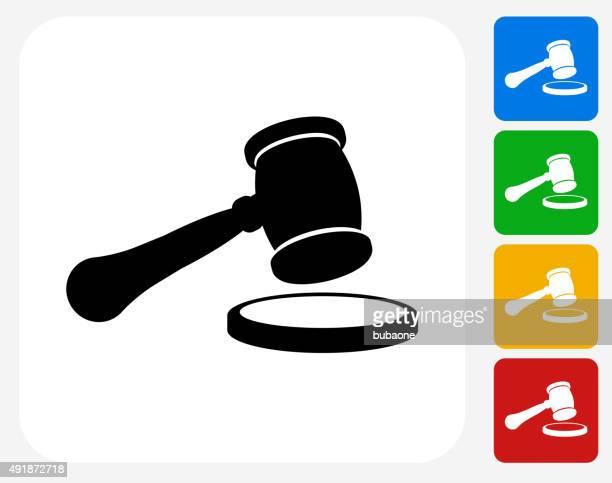 Court Hammer Icon Flat Graphic Design
