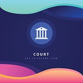 Court icon design on modern flat backgro