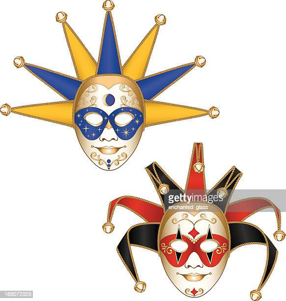 court jester/joker mardi gras masquerade party masks - jester stock illustrations, clip art, cartoons, & icons
