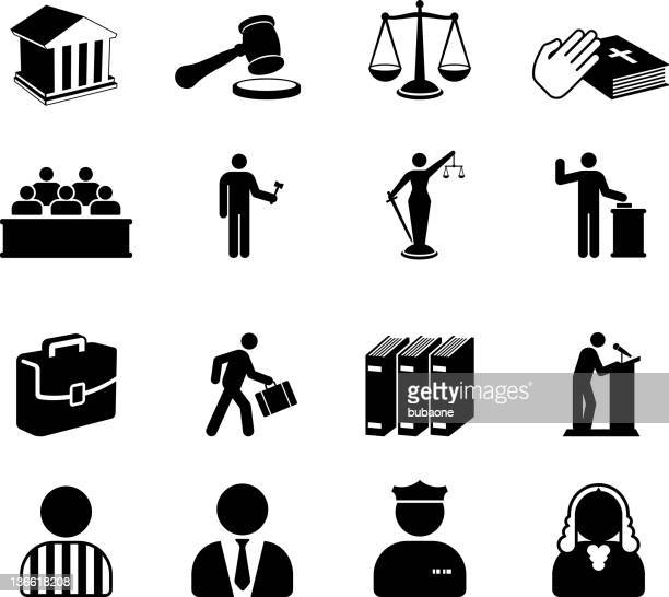 Court room legal system black and white vector icon set
