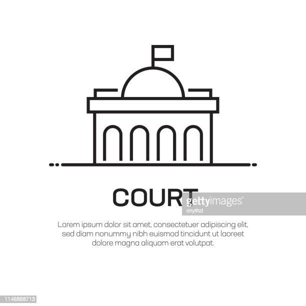 court vector line icon - simple thin line icon, premium quality design element - courthouse stock illustrations, clip art, cartoons, & icons