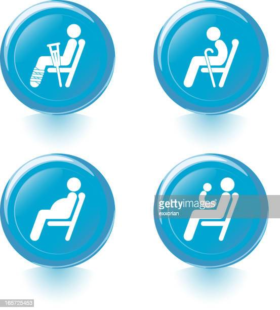 courtesy seat sign - assistive technology stock illustrations, clip art, cartoons, & icons