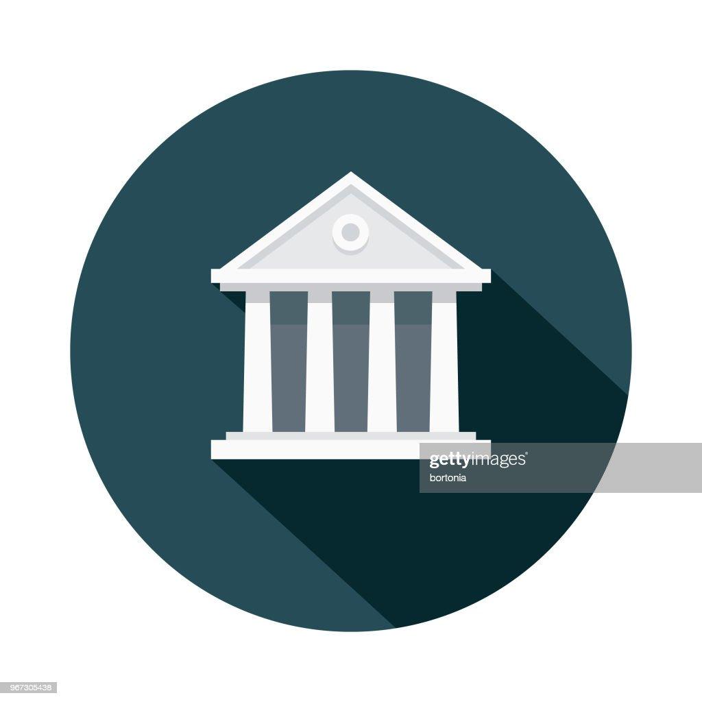 Courthouse Flat Design Crime & Punishment Icon : stock illustration