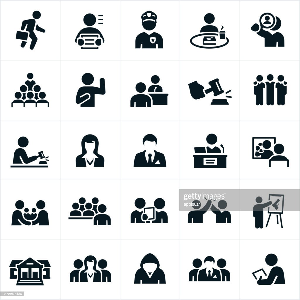 Gerichtssaal-Symbole : Stock-Illustration
