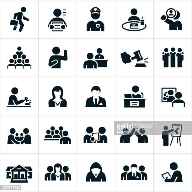 courtroom icons - arrest stock illustrations, clip art, cartoons, & icons