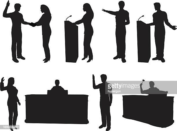 courtroom silhouette collection - courthouse stock illustrations, clip art, cartoons, & icons