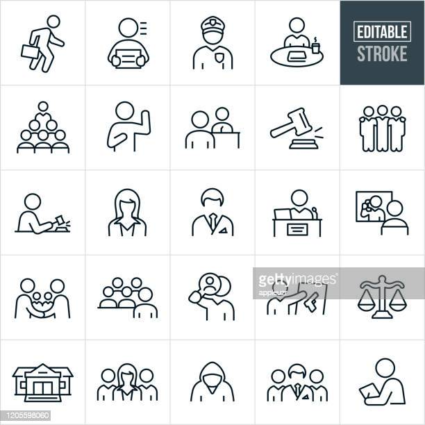 ilustrações de stock, clip art, desenhos animados e ícones de courtroom thin line icons - editable stroke - crime or recreational drug or prison or legal trial