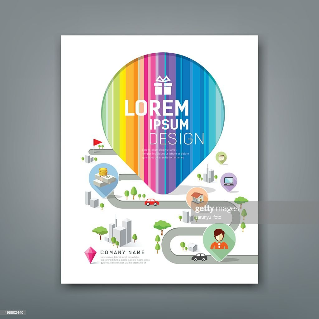 Cover Annual report colorful map pointer create design
