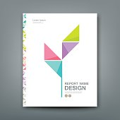 Cover Annual report, colorful tree origami paper