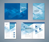Cover Book Design Set, Triangle Background vector Template Brochures