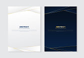Cover brochure template header and footers polygonal pattern luxury style on dark blue and white background with golden lines. You can use for letterhead, poster, banner web, print, leaflet, flyer, etc.