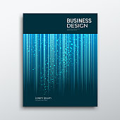 Cover Business book annual report abstract blue lines and dots