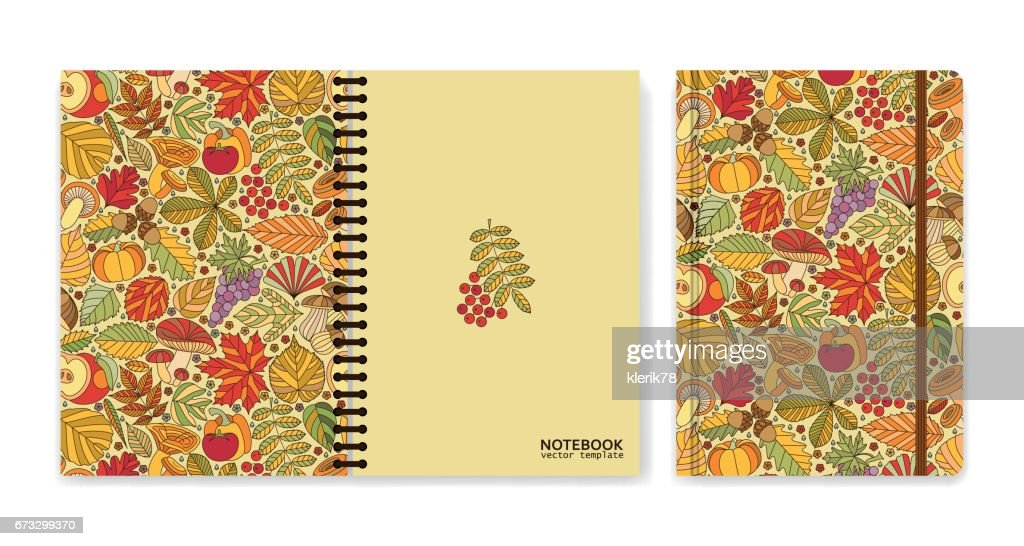 Cover design for notebooks or scrapbooks with autumn pattern. Vector illustration.