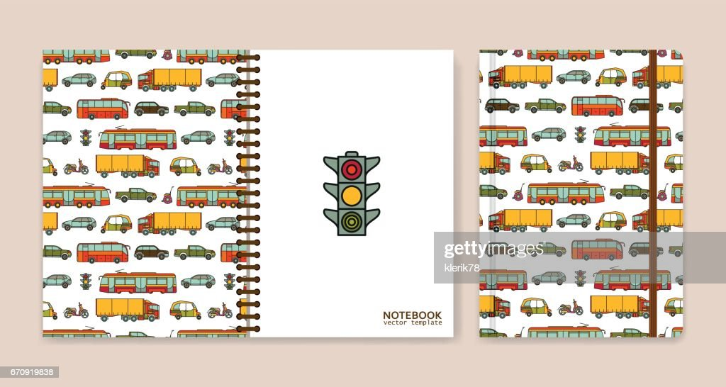 Cover design for notebooks or scrapbooks with cars and city transport. Vector illustration.