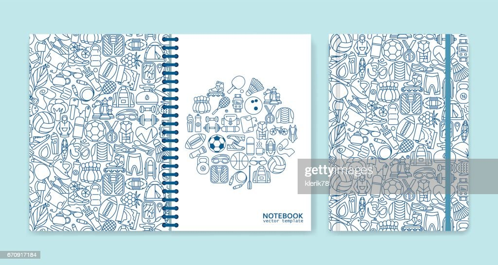 Cover design for notebooks or scrapbooks with sport and recreation line icons. Vector illustration.