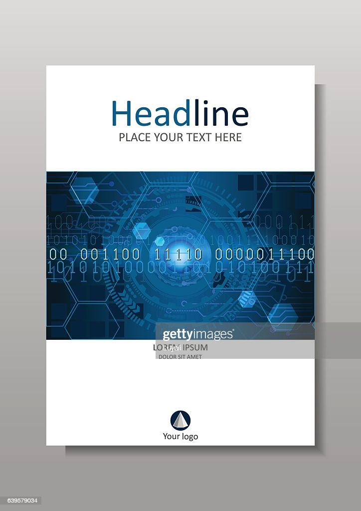 Cover design HUD in A4 futuristic circles. Vector.