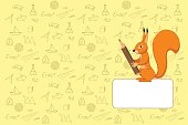 cover design school notebook with squirrel