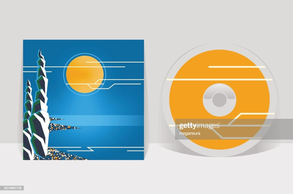 CD cover design template. Night coastal city illustration. Moon shining over sea shore and cypress trees