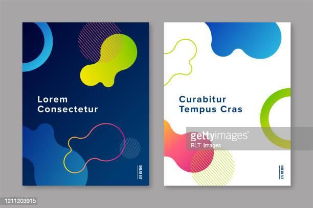 ilustrações, clipart, desenhos animados e ícones de modelo de design de capa com gráficos gradientes de fluidos abstratos - plano descrição geral