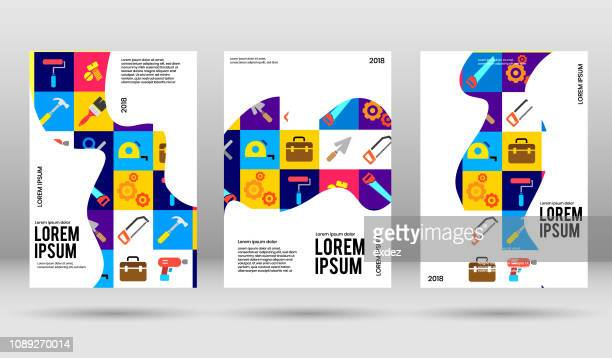 cover design with construction tools icon set - poster stock illustrations