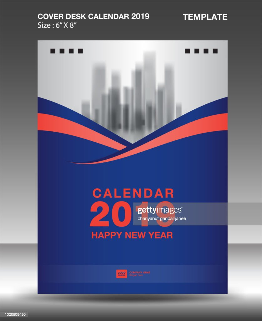 Cover Desk Calendar 2019 Design template, flyer template, ads, booklet, catalog, newsletter, book layout, printing media, advertisement, Brochure, Blue orange background