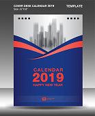 Cover Desk Calendar 2019 Design template, flyer template, ads, booklet, catalog, newsletter, book layout, printing media, advertisement, Brochure, Blue orange background