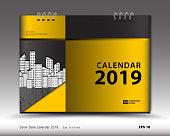 Cover Desk Calendar 2019 template design, vector business calendar design, creative idea, Document, publication, advertisement layout, book cover design, yellow background