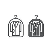 Cover for clothes line and glyph icon, laundry and protection, dry cleaning sign, vector graphics, a linear pattern