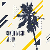 Cover music album. Modern poster with palm tree