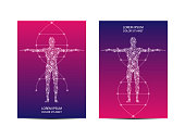 Cover or poster design with human body, scientific and technological concept, vector illustration