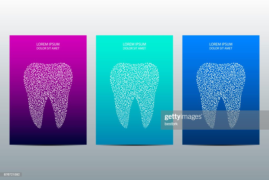 Cover or poster design with tooth background, vector illustration
