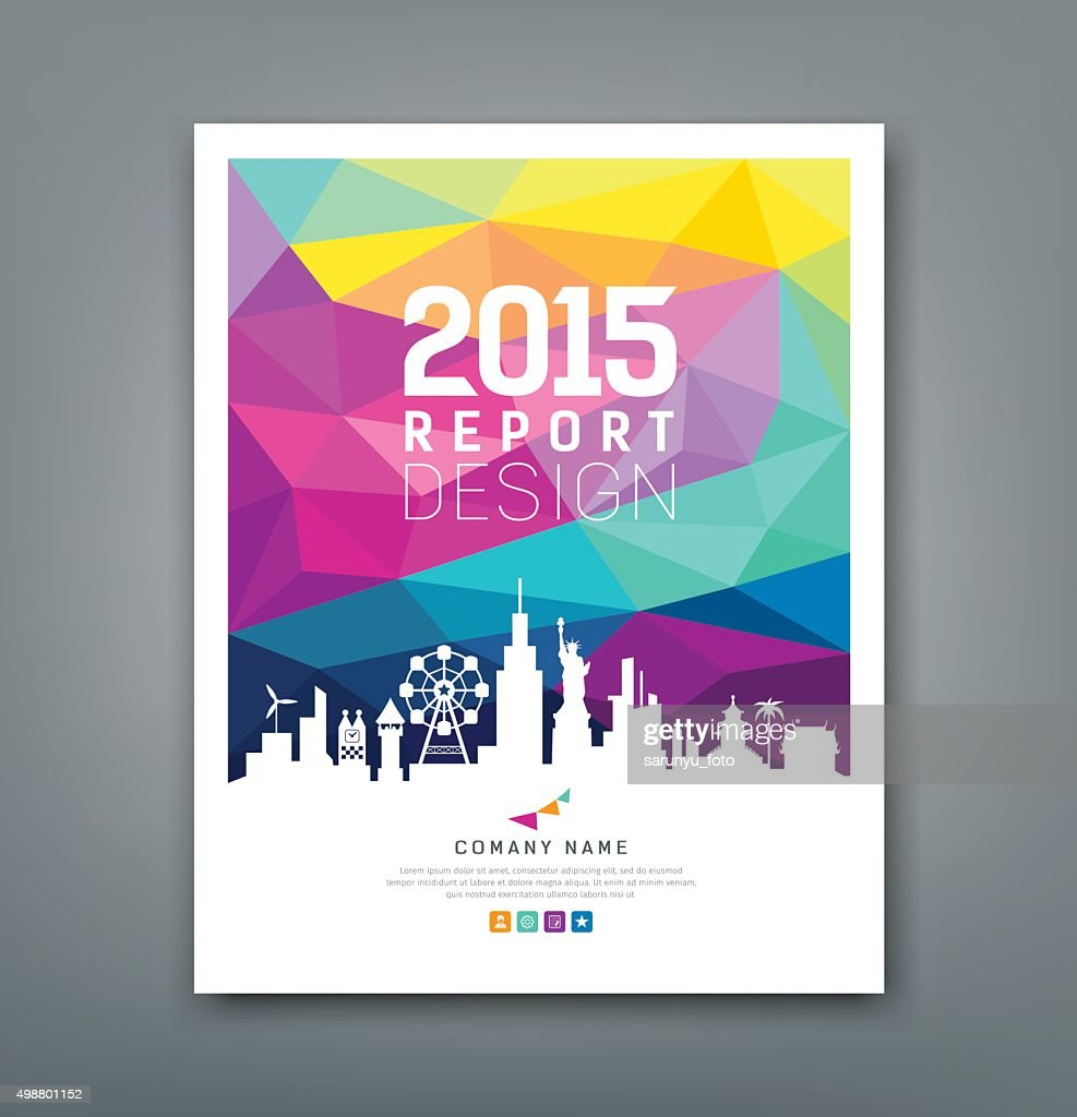 Cover report colorful geometric shapes with silhouette landmarks