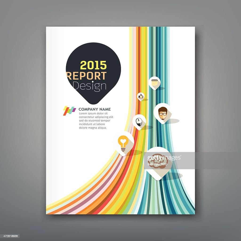 Cover report colorful lines shapes info-graphic with point markers icons
