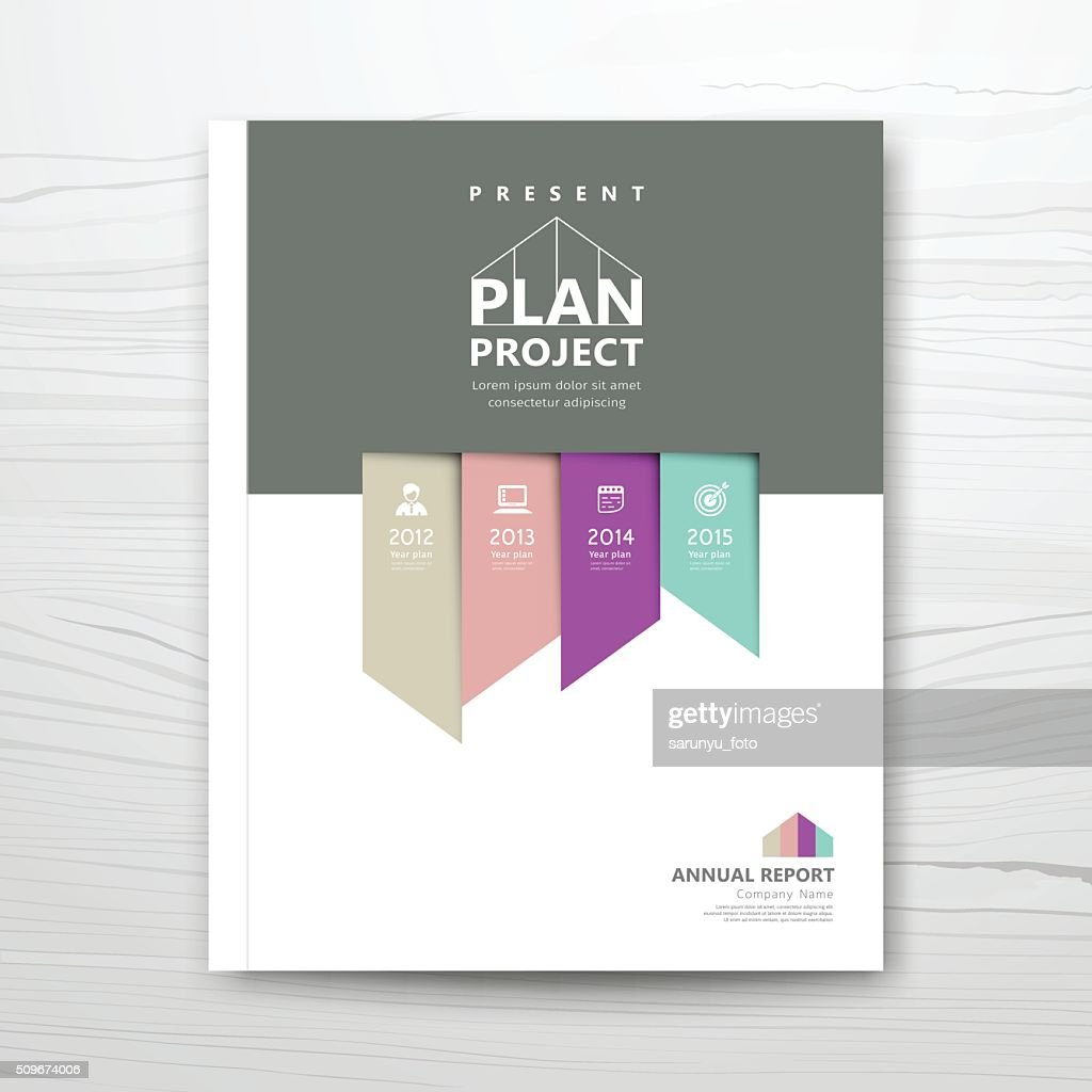 Cover report present colorful ribbon year plan design